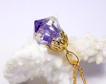 purple crystal necklace gold purple jewelry gift for girlfriend terrarium necklace resin romantic gift for her unique gift for wife Рю127