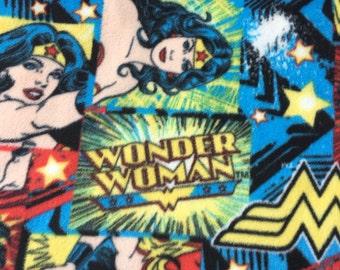 Wonder Woman Fleece Blanket with Red Satin Binding