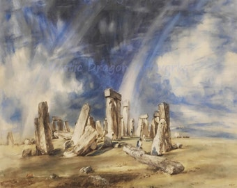 "John Constable ""Stonehenge"" 1835 Reproduction Print Wiltshire England Prehistoric Monument"