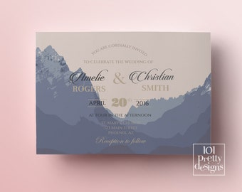 Mountains wedding invitation woodland printable wedding invitation design wildlife wedding invitation template mountain rustic wilderness