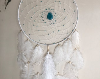 Bohemian dreamcatcher large white with agate pendant and turquoise beads ooak