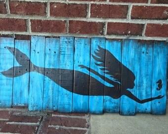 Mermaid Wall Decor painted on wood