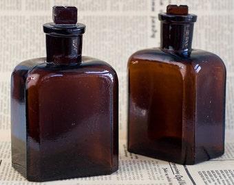 10% OFF Glass bottles. Antique bottle. Amber glass. Old glass bottle for drugs. Glass flakon Bottles apothecary pharmacy laboratory Medicine