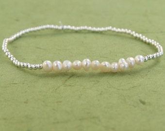 Sterling Silver Bracelet, Silver Charm Bracelet, Silver Pearl Beads Bracelet, Stretch Bracelet, Beads Bracelet, Ball Bracelet