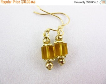 SALE 20% OFF Dark Yellow Glass Earrings Handmade Dangle Earrings