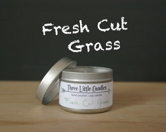 Fresh Cut Grass Soy Candle Tins With Clear Lid - 2oz, 4oz or 8oz