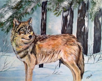 Golden Wolf Painting on Canvas