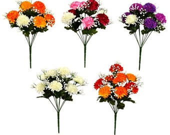 Artificial Flowers Small Chrysanthemums / Mums 35cm 8 Head Bunch Memorial Home