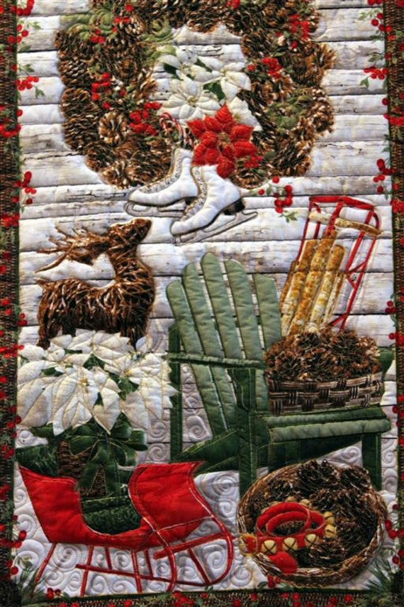 Holiday Wall Hanging, Winter Scene Quilted Banner, Handmade Quilted Door or Wall Banner with Hanging Pocket, Quilted Panel Wall Art, Rustic