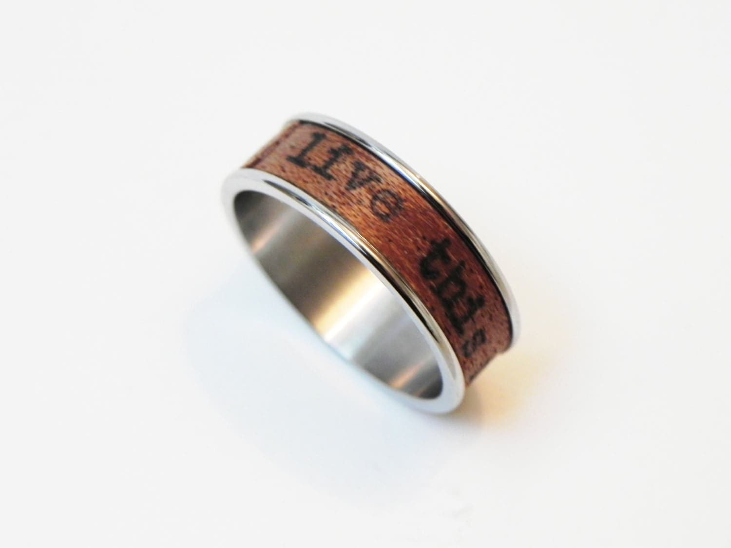 wood ring live this moment name ring promise
