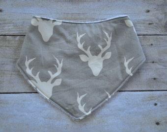 Bandanna Bib, Antlers Bandanna Bib, Buck Forest Bib, Baby Boy Bib, Baby Shower Gift, Drool Bib, Antlers Bib