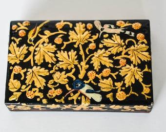 Vintage Hand Painted Kashmir Indian Trinket Bird Box