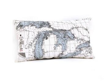 Nautical Map Pillow of the Great Lakes - Lake Michigan, Lake Huron, Lake Superior, Lake Ontario, Lake Erie - INDOOR/OUTDOOR