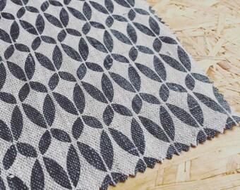 Retro Fabric- Linen Fabric- Charcoal Grey- Scandinavian Fabric- Modern Fabric- Printed Linen- Fabric By The Metre- Natural Linen