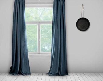 Navy blue curtains | Etsy