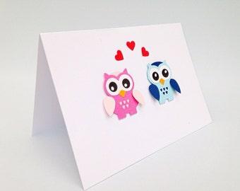 Cute owl love you card, Owl valentines handmade card romantic owl card, owl anniversary card, his & hers owl valentines card, owl card