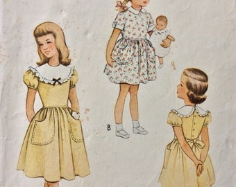 McCall 8094 girls dress size 8 vintage 1950's sewing pattern
