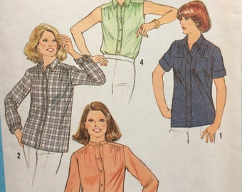 Simplicity 8938 vintage 1970's womans blouse half size sewing pattern size 16.5 size 16 1/2 bust 39