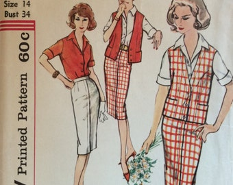CLEARANCE!!  Simplicity 2933 misses blouse, skirt and sleeveless jacket size 14 bust 34 waist 26 vintage 1950's sewing pattern