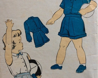 New York 957 girls blouse and shorts size 4 vintage 1940's sewing pattern