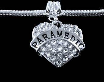 Paramedic  charm fits european style bracelet crystal heart style charm