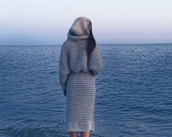 Chunky grey Cardigan, Cozy Wool Sweater, Cozy Long Knitwear, FREE SHIPPING