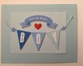 Hello Baby Boy Card - New Baby Boy Card - Baby Boy Card - Hello Baby Card - It's A Boy Card