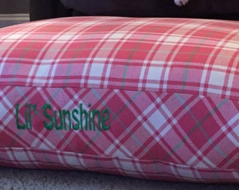 Dog Bed * Chloe * Pink Green Plaid * Limited Edition * Small Medium * Personalize with Pup Name  * Custom Pillow Cover * Embroidery * TSD