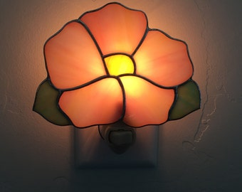 Stained glass pink flower nightlight, Stain glass pink flower night light, Nightlight, Home decor lighting