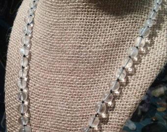 Clear Quartz Reiki Crystal Necklace Knotted on black Silkon Thread