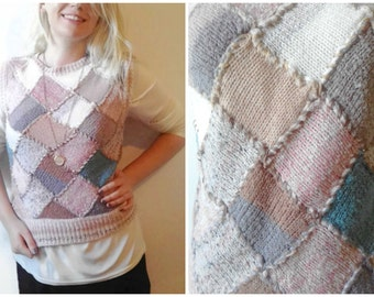 Vintage Pastel Sweater Vest Pullover, Mariea Kim Size Medium. Sleeveless Pullover Sweater Light Pink Grey Beige, Woven Cute Unique 80's.