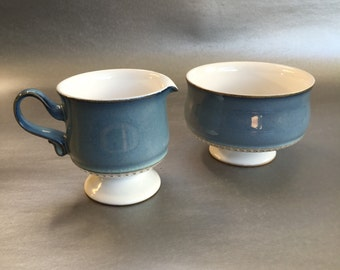 Denby Castile Blue Stoneware Cream Pitcher and Sugar Bowl Engand