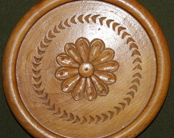 Vintage Hand Carved Wood Flower Plate