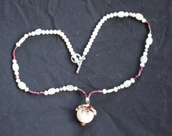 dainty garnet, pearl and adventurine necklace
