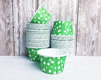 24 Mini Cupcake Liners in Green, Baking Cups, Candy Nut Dessert Cups, White Polka Dot,  cupcake liners Baby shower