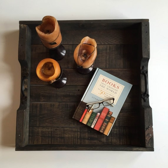 Large Wooden Coffee Table Tray: Rustic Wooden Large Square Tray Large Ottoman Tray Coffee