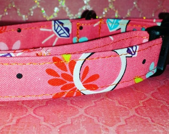 """DOG COLLAR : Handmade 11""""- 15"""" Adjustable Girls Dog Collar 3/4"""" W High Quality Cotton Fabric Pet Accessories Dogs Gifts OKC Made in Oklahoma"""