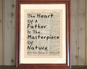 Father Dictionary Print, Father Quote, Father's Day Gift, Antoine Prevost Quote about Fathers, Father Print on 5x7 or 8x10 Canvas Panel