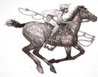 """Pen and ink, Giclee fine art print of """"Get that cow boy!"""""""