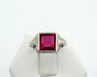 Vintage 1930's Art Deco Ruby 14K White Gold Ring #1930RBY-GR3