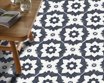 Tiles for Kitchen/Bathroom Back splash - Floor decals - Encaustic Campagne  Vinyl Tile Sticker Pack in Navy