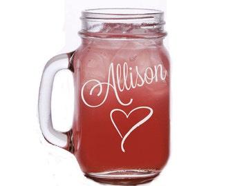 Personalized Mason Jar, Etched Mason Jar, Girls Weekend Mason Jar, Bachelorette Party Mason Jar, Bridesmaid Mason Jar, Custom Mason Jar