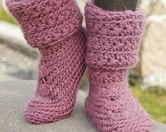 Crochet Womens Sweet Spirited Wool Slipper Boots, Custom Order, Handmade