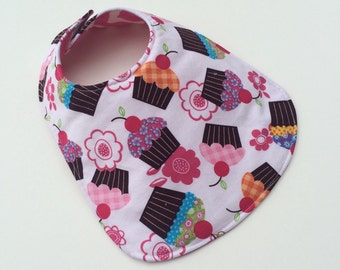 Reversible Baby Bib for Baby Girl - Cupcake Baby Bib - Baby Girl - Baby Bib - Cupcake Bib - Handmade