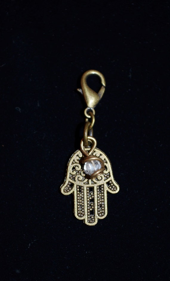Zipper Charm Hamsa Hand Good Luck & Fortune Charm