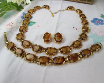 Glass Tigers Eye Necklace, Bracelet, Clip On Earrings Parure