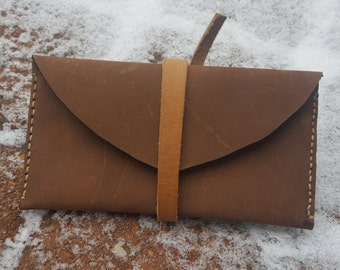 Leather Clutch Wallet Billfold Womens or Mens