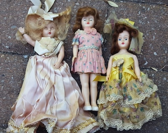 Set of 3 Toy Plastic Dolls Victorian Dress Movable Eyes Vintage Antique