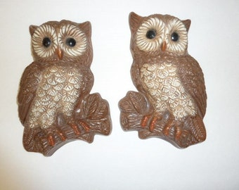 Vintage Owl Wall Decor Mid Century Modern Home Decor Wall Hangings Retro Mod Wall Art 1960s Set of 2