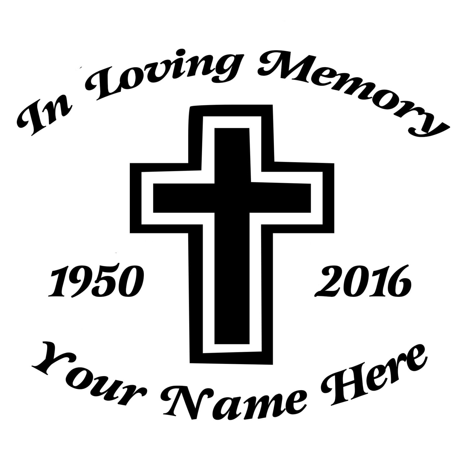In Loving Memory Cross Die-Cut Decal Car Window Wall Bumper